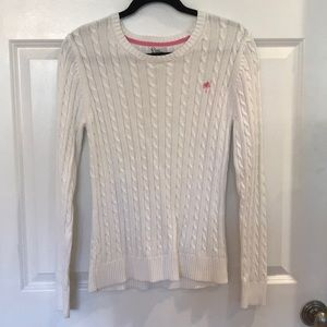 Women's Lilly Pulitzer white scoop neck sweater.